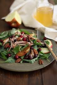 thanksgiving leftovers salad with cranberry viniagrette