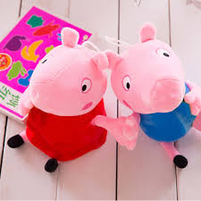 cute peppa family pig plush stuffed toys with lovely handbag