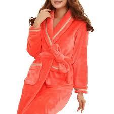robe de chambre douce peignoir polaire femme orange liseré lepeignoir fr