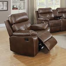 Faux Leather Recliner Casual Brown Faux Leather Reclining Glider