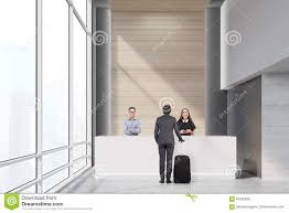 Standing Reception Desk by Three People Near A Reception Desk Stock Illustration Image