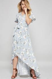memdalet women u0027s blue floral flutter sleeve long surplice dress