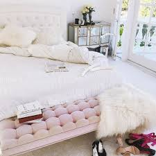 Mirrored Bedroom Bench Cozy Cute U0027s Bedroom With White Bedding Faux Fur Pillows And