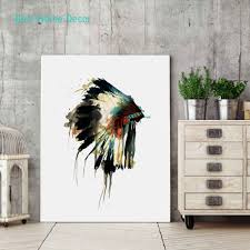 American Indian Decorations Home by Aliexpress Com Buy Native Indian American Headdress Art Print