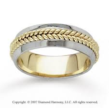 carved wedding band two tone gold braided carved wedding band