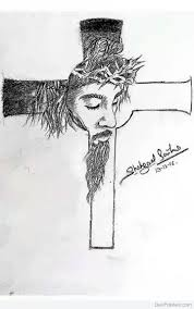 jesus on a cross in 3d with pencil drawing the son of god quick