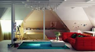 attic bedroom design ideas to inspire you vizmini wonderful spacious master attic bedroom design idea with yellow bedding and exotic red sofa and opulence