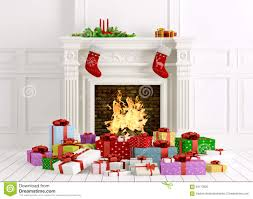 christmas interior with fireplace and gifts 3d rendering stock