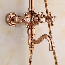 Outdoor Shower Fixtures Copper - rose gold two handle outdoor shower faucet system