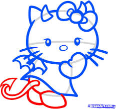 how to draw devil hello kitty devil hello kitty step by step