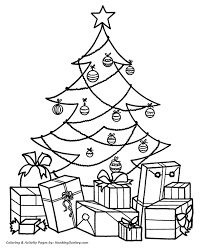 christmas morning coloring pages presents under the tree