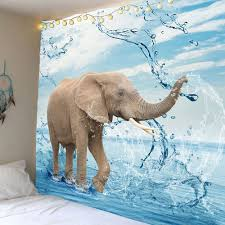 home decor elephant playing water wall art tapestry colorful w