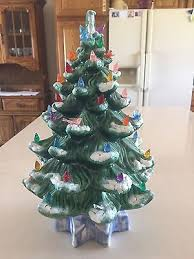huge vintage atlantic mold light up ceramic christmas tree skirt