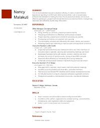 executive assistant resume template from google docs gallery