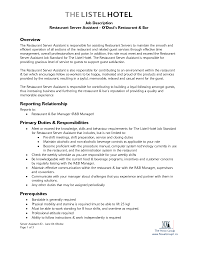 Resume Samples Restaurant by 100 Resume Examples Restaurant Manager Doc 585610 Assistant