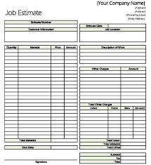 Estimate Sheet Templates Free Contractor Estimate Contractor Estimate Form Exle Contractor