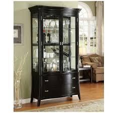 curio cabinet contemporary living room black curio glass display