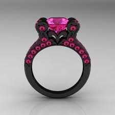 black and pink wedding ring sets vintage 14k black gold 3 0 ct pink sapphire pisces wedding ring