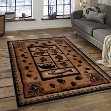 Fish Area Rug Brown Nature Wildlife Outdoor Cabin With Fish Area Rug 3 9