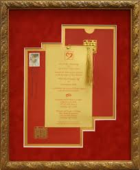 Custom Frames Wedding Invitation Framed In Chinese Red Suede Mat Board And 24k