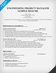 Project Resume Example by Engineering Project Manager Resume Sample Resumecompanion Com