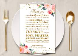 gold table sign thank you place card thank you menu place