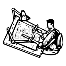Black Drafting Table Royalty Free Black And White Architect Working At A Drafting Table