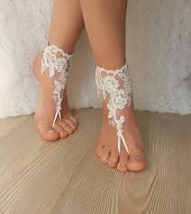 wedding barefoot sandals ivory barefoot lace sandals wedding anklet
