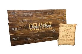 engravable wedding guest book rustic wood guest book sign board engraved wedding guest book