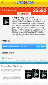 purchase play gift card touch4points gift cards android apps on play