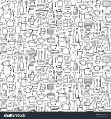 seamless pattern hand drawn kitchen doodles stock vector 492456274