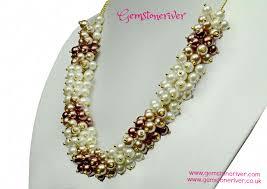 ivory cream chocolate brown u0026 taupe mocha pearl u0026 gold necklace