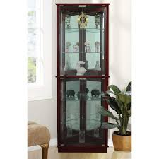 home depot kitchen cabinets display floor standing walnut 3 sided lighted corner curio cabinet