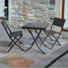 Folding Patio Bistro Set Rattan Effect 60cm Square Folding Table With Two Chairs