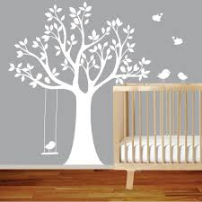 Nursery Room Tree Wall Decals Vinyl Wall Decal Stickers Bird White Tree Set By Wallartdesign