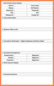 non conformance report form template 7 quality non conformance report template progress report