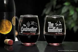 godmother wine glass on glass personalized godparent stemless