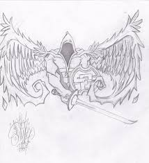 metal virgin angel virgo tattoo sketch