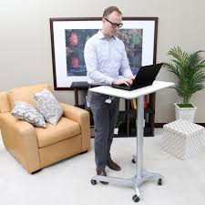 Mobile Computer Desk Seville Classics Airlift White Sit Stand Mobile Pneumatic Desk