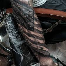 american flag tattoo on forearm