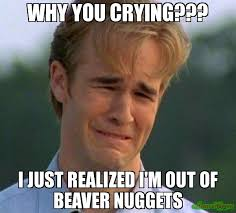 Why Are You Crying Meme - why you crying i just realized i m out of beaver nuggets meme