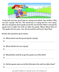 reading comprehension grade 1 worksheets fill in the blanks from comprehension jim and his goats worksheet