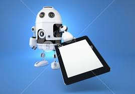 touchpad android android robot with touchpad on blue background royalty free stock