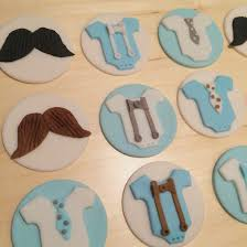 little man theme baby shower fondant cupcake toppers mustache and