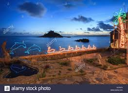 marazion christmas lights with st michael u0027s mount in the distance