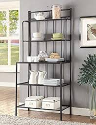 Metal Bakers Rack Amazon Com Kings Brand Furniture Metal With Marble Finish 5 Tier