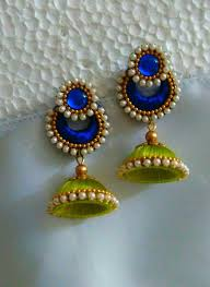 thread earrings blue and green silk thread earrings fashionous