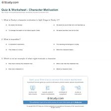 quiz u0026 worksheet character motivation study com
