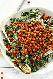 kale salad with tandoori roasted chickpeas minimalist baker recipes