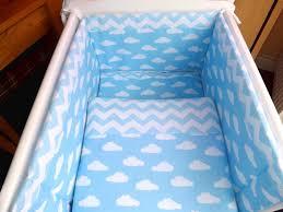 crib cot bed bedding set blue cloud chevron 100 cotton fabric made
